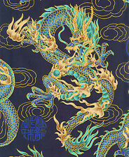 1 Yard: NAVY BLUE FIRE-BREATHING DRAGONS: Japanese Asian Oriental Quilt FAabric