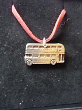 """Double Decker Bus Fine English Pewter On a 18"""" Red Cord Necklace codew28"""