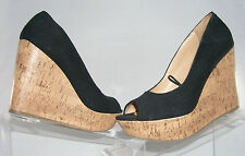"Report Footwear 'Amber' canvas peep toe cork wedge 4"" heel 1.5"" platform size 7"