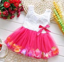 Toddler Baby Girls Kids Princess Pageant Rose Skirt Tutu Flower Dress 18-24M