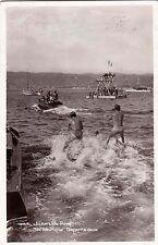 JUAN-LES-PINS 1864 ski nautique départ à deux bâteaux tampon sa plage timb. 1938