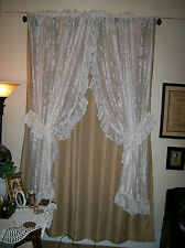 Vintage JC Penney Priscilla Curtains Off White + 2 Valances and 2 Tie Backs