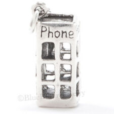 925 TELEPHONE PHONE BOOTH English London STERLING SILVER Charm Pendant Moveable