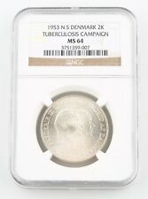 1953-H NS Denmark 2 Kroner Silver Coin MS-64 NGC Greenland Tuberculosis KM-844