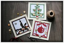 Set of 3 Beautiful real Handmade Christmas Cards, made in United Kingdom