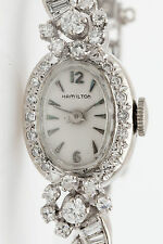 Vintage Hamilton $9000 3ct Marquis Baguette Round Diamond 14k Gold Ladies Watch