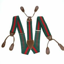 Men Red Dark Green Stripe Adjustable Suspenders Braces 3.5 CM 6 Buttons BD723