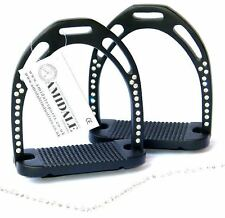 HORSE RIDING STIRRUPS ALUMINUM LIGHT DURABLE BLACK 44 CRYSTALS AMIDALE BNWT