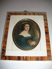 ANTIQUE PAINTING MINIATURE PORTRAIT ANNA HILLMEYER BEAUTIFUL WOMAN PRAYER BOOK