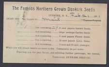 1911 DUNKIRK NY SEED CO SELLERS OF FLOWERS PACKETS AT 5c & 10c ORDER FORM