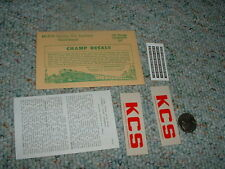 Champ decals HO EH-219 Kansas City Southern hood diesel  E93