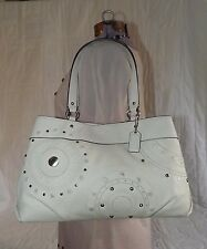 Coach F16273 White Leather Studded Applique Carryall Bag