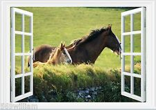 Horse With Foal Field Farm Nature 3D Window Wall Art Sticker Decal Size A3