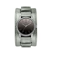G BY GUESS METALLIC SILVER LEATHER BAND,CUFF+MIRROR DIAL+CRYSTAL WATCH-G89051L1
