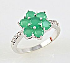 Noble Emerald & white Topaz Gemstones Silver Ring Size 7