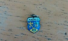 Vntg/Antique Enamel Spanish Flag Crest Shield Madrid Charm Pendant 800 Silver