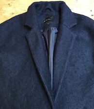 "Preloved 'NEW LOOK ""LANA COTTA/FELTRO Blu Navy Cappotto donna classico corto 36"" B"