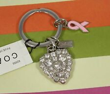 NEW Coach Crystal Heart Ribbon Breast Cancer Key Ring Chain 92555 Valentine