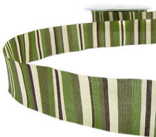 "2 Yds SALE! Earthtones Army Green Brown Ivory Striped Ribbon 1""W"
