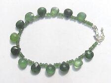 """Serpentin """"New Jade"""" facett. Tropfen Armband 925 Silber 19,5-22  cm  3080"""