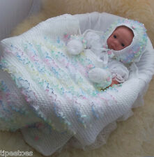 Baby Knitting Pattern #41 TO KNIT Baby Girls Lace Blanket Hat & Mittens