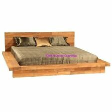 KraftNDecor Wooden Double bed in Japanese Platform style in Brown Colour