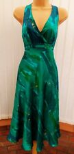 COAST TINKERBELL GREEN BLUE GOLD SILK SHEER BACK 50'S HALTER DRESS BNWT 12 £135