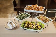 New 3 Tier Buffet Server Stoneware Serving Dishes Wrought Iron Stand Catering