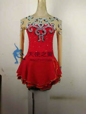 skating dance dresses figure skating dress red competiiton women custom clothing
