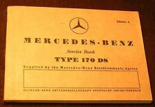 MERCEDES TYPE 170 DS 170DS W136 Ed. A 5/52 SERVICE BOOK for OWNERS MANUAL SD D-S