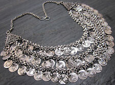 Layered Turkish Vintage silver Coin Necklace | Boho Gypsy Festival Kuchi Jewelry