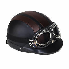 Vintage Retro Motorcycle Bike Half Open Face Helmet with Visor Goggles Scarf