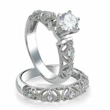 .925 Sterling Silver Wedding set size 8 CZ Round cut Engagement Ring New w35