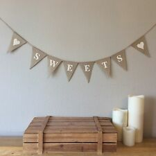 ❤️ SWEETS Candy Cart Hessian Bunting Banner Vintage Rustic Wedding❤️