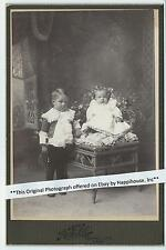 Cabinet Photo Little Boy and Baby / H F Lee Photographer Central City Nebraska