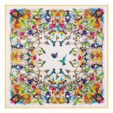 "Women's White Birds Printed Twill Silk Head Shawl Fashion Square Scarf 51""*51"""