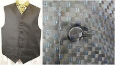 M 40R - Vintage 90's Mens Black Blue Check Waistcoat Vest Party Snooker - C110