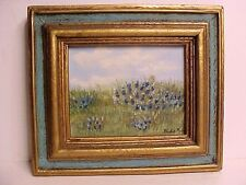 "Texas Bluebonnets Hill Country Pint Sized Framed Oil Painting 4x5"" Canvas"