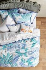 Anthropologie VIGNETTE QUEEN DUVET Isand Beach Tropical Leaves Ebroidered
