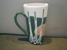 Tall Handpainted Coffee Latte Tea Sports Mug - Golf Balls Clubs Green Sand Hole