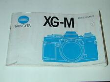NOTICE MINOLTA XG-M en FRANCAIS  photo photographie
