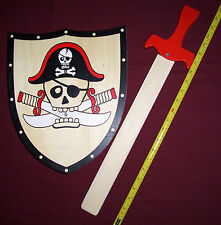 Wooden toy Sword and Shield set -scull and cross bones