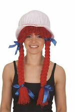 Raggedy Ann Anne Rag Doll Bonnet w/ Long Red Yarn Hair Braids Costume Accessory