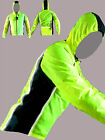 CYCLING JACKET HOODED HIGHLY VISIBLE /HI VIZ WATERPROOF RUNNING HORSE RIDING !
