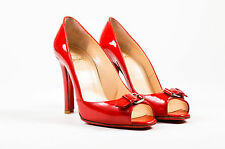 "Christian Louboutin Red Patent Leather High Heel ""Open Belt"" Pumps SZ 38"