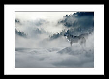 Wolf in The Mist Winter Snow Mountains Landscape Framed Print Picture Poster
