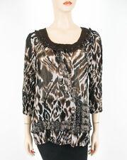 Alberto Makali Top Animal Print Crinkle Sheer Sequins Brown XL 8635 TR