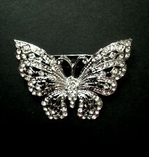 Crystal Metal Alloy Butterfly Invitation Silver Brooch