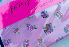 BETSEY JOHNSON Queen Sheet Set Pink Floral Rose 4 Pc Flat Fitted 2 Pillow Case