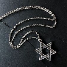 Silver Star of David Necklace Pendant on Stainless Steel Chain Jewish Hanukkah